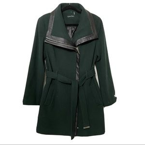 Calvin klein wool coat trench belted size Large